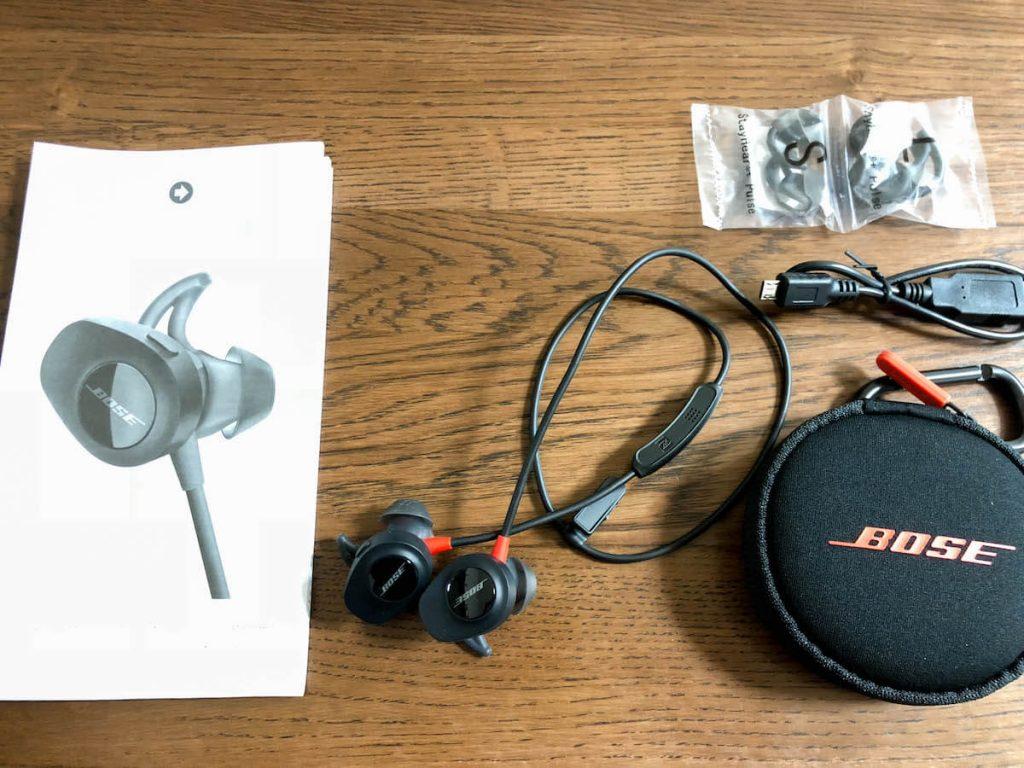 BOSE SoundSport Pulse wireless headphones付属品一式