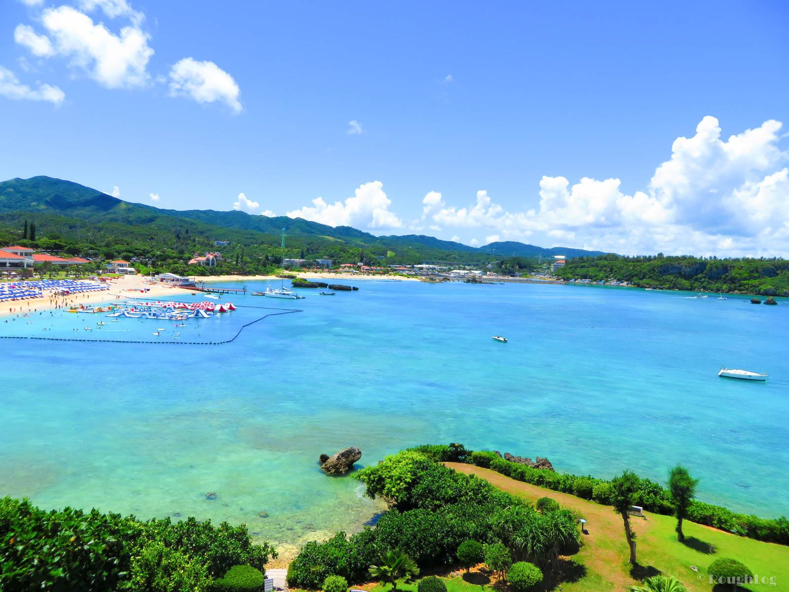 ANAインターコンチネンタル万座ビーチリゾートのホテル客室から眺める沖縄の海(万座ビーチ)