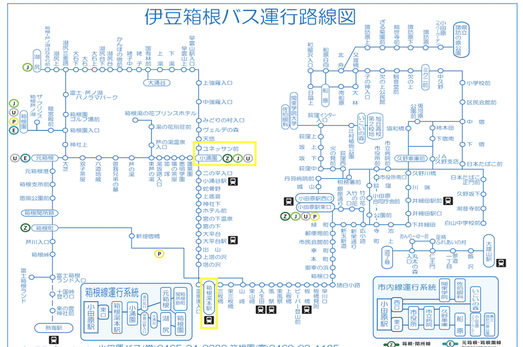 伊豆箱根バス路線図