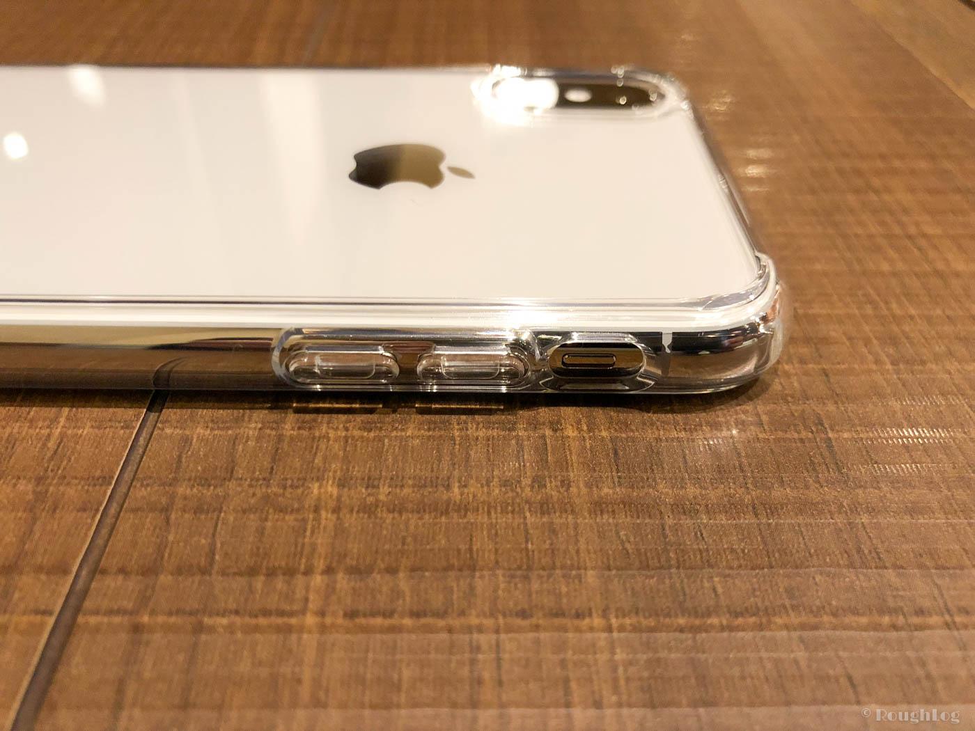 【iPhoneケース】Spigenウルトラハイブリッドは音量ボタンはケースで覆われている