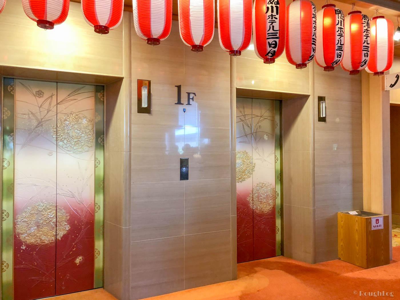 龍宮城スパホテル三日月エレベータホール