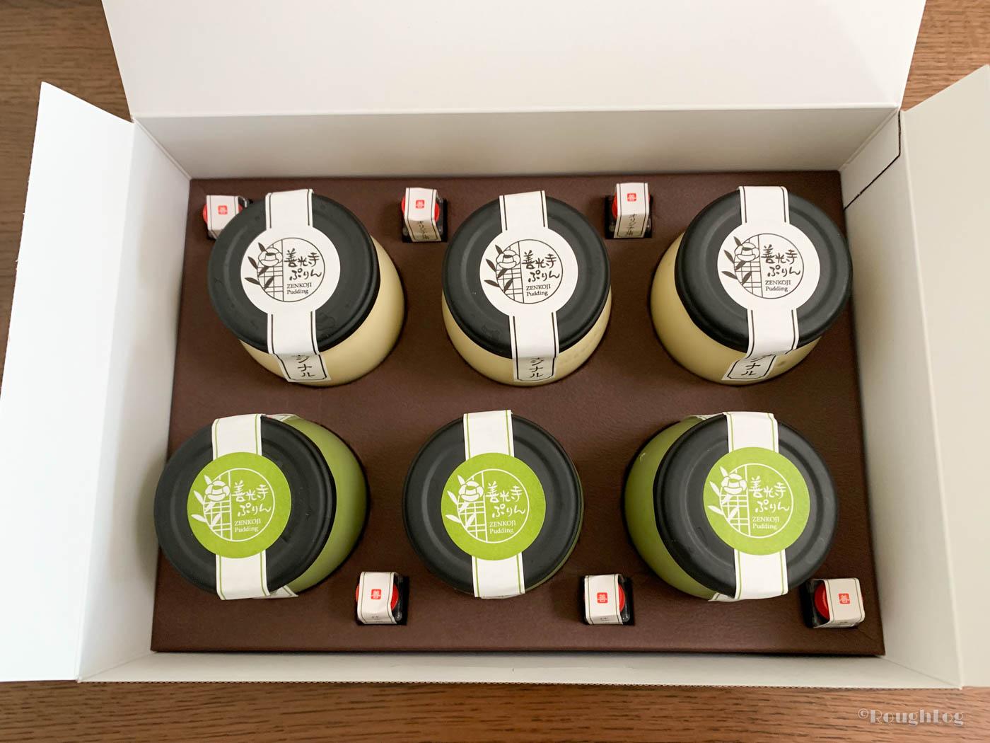 善光寺ぷりんセットは、オリジナル味と抹茶味が3個ずつ