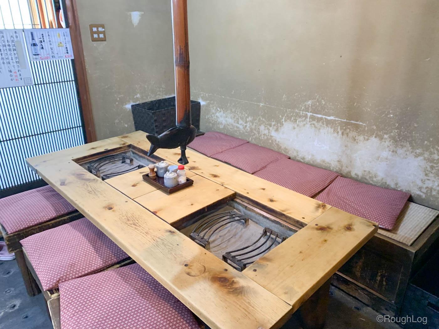 囲炉茶屋1階には、いろりテーブル席(18席)と、いろりお座敷(36席)が並んでいます