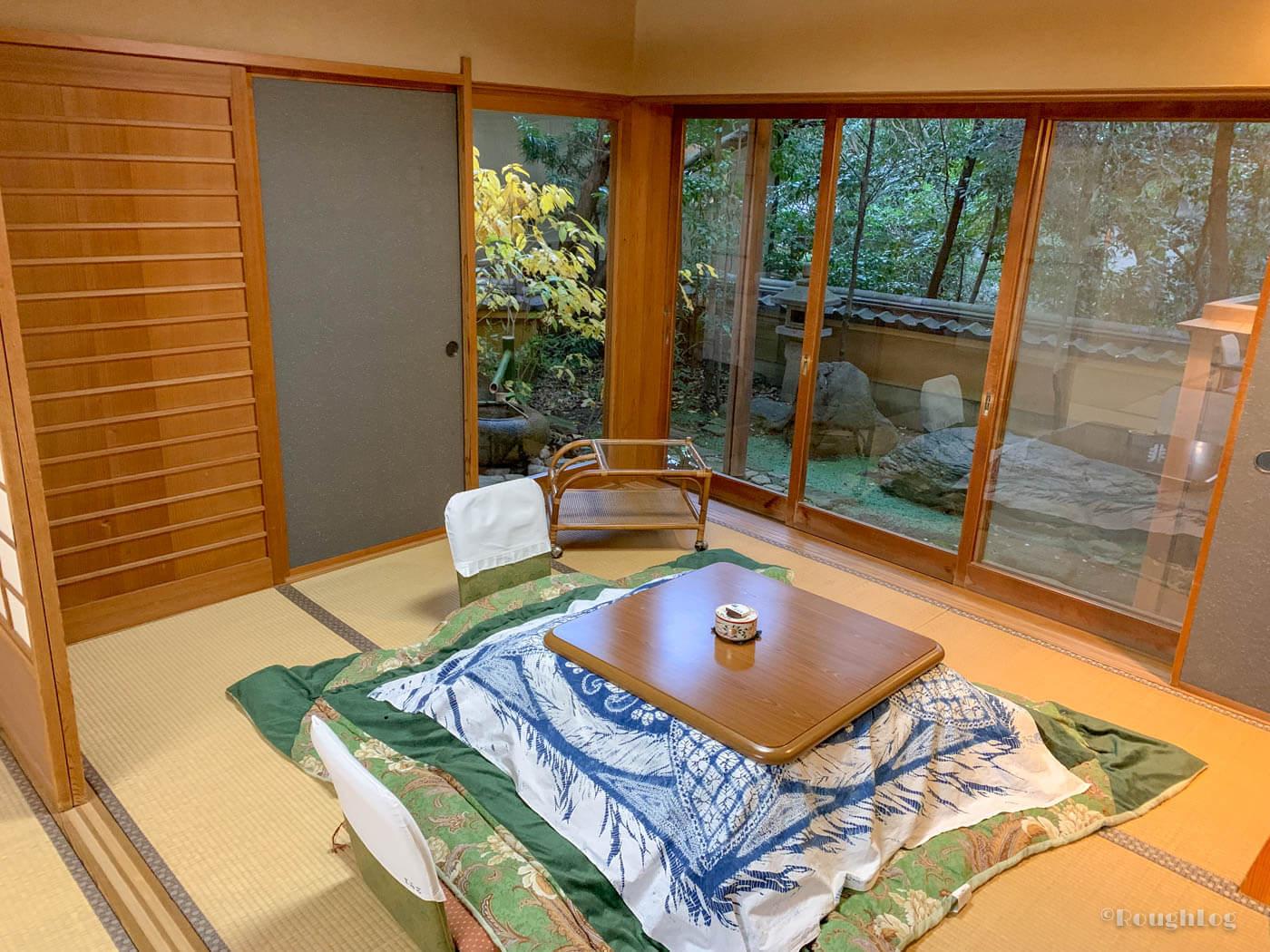 三平荘の離れ葵。掘りごたつ付きの和室4.5畳。
