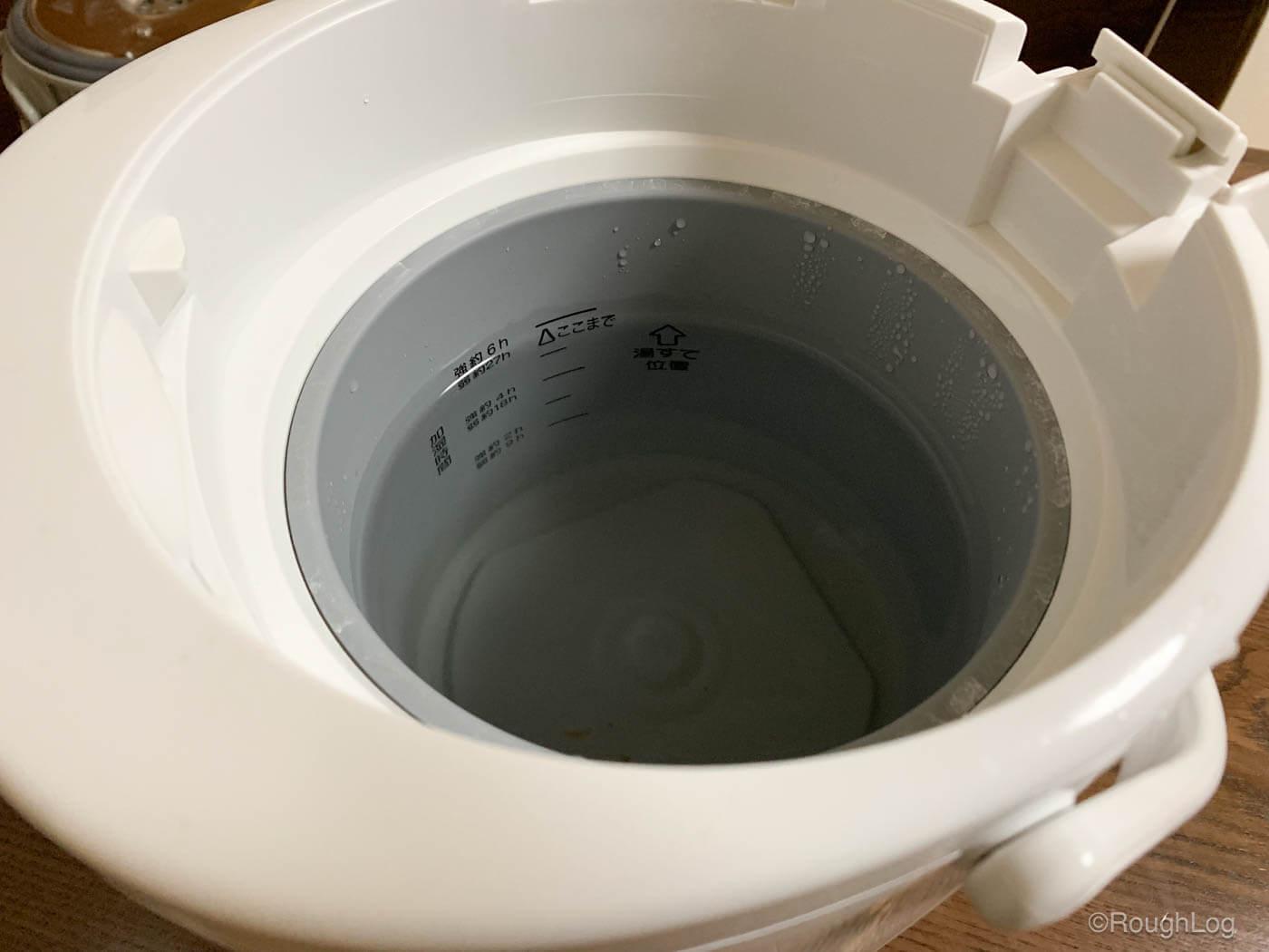 内容器の満水メモリまでクエン酸とぬるま湯でいっぱいにする