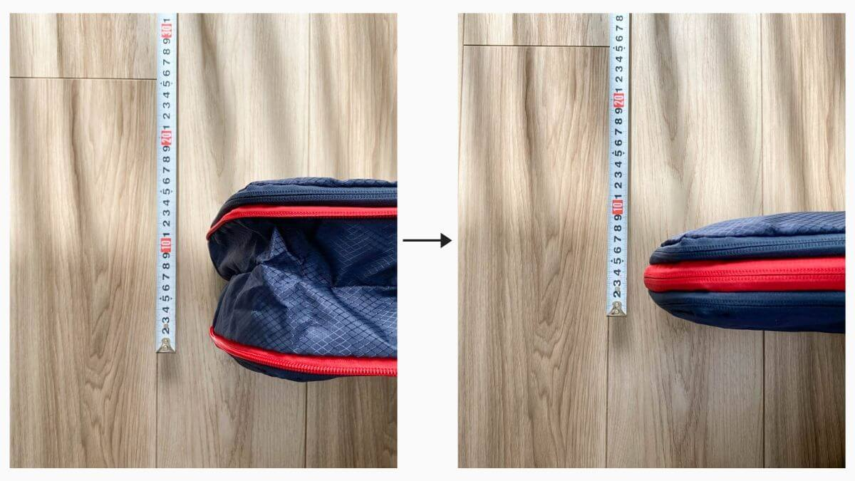 ファスナー閉めるダケのKINGOODS 圧縮バッグで衣服を50%圧縮