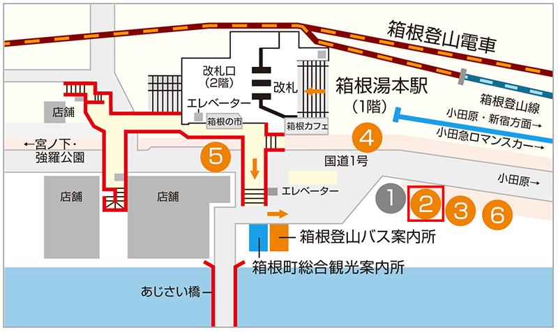 箱根登山バス バス停 箱根絵湯本駅