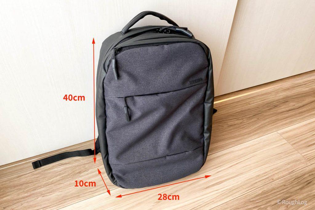 Incaseバックパック「City_Dot_Backpack」商品仕様(サイズ)